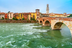Ponte Pietra and Adige, Verona, Italy Royalty Free Stock Images