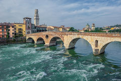 Ponte Pietra bridge, Verona, Italy Royalty Free Stock Photos