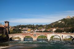 Ponte Pietra  bridge in Verona, Italy Royalty Free Stock Image