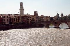 Ponte Pietra and Duomo di Verona. Italy. Stock Photos