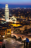 Ponte Pietra and Duomo of Verona in night, Italy Stock Image