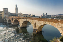 Ponte Pietra in the old town of Verona Stock Photography