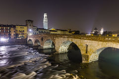Ponte Pietra in the old town of Verona Royalty Free Stock Image