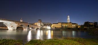 Ponte Pietra by Night - Verona Italy - 1st century B.C. Stock Image