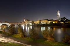 Ponte Pietra by Night - Verona Italy - 1st century B.C. Royalty Free Stock Image