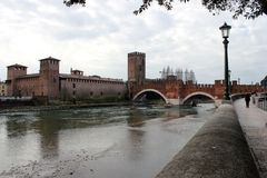 Ponte Pietra over the Adige River in Verona Royalty Free Stock Image