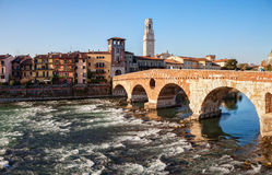 Ponte Pietra Pons Marmoreus and the River Adige at sunny morning, Verona, Italy Stock Photos