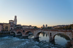 Ponte Pietra and the River Adige, Italy, Europe Royalty Free Stock Image
