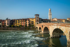 Ponte Pietra and the River Adige, Italy, Europe Royalty Free Stock Photo
