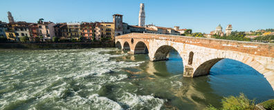 Ponte Pietra and the River Adige, Italy, Europe Royalty Free Stock Photos