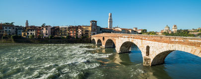 Ponte Pietra and the River Adige, Italy, Europe Royalty Free Stock Images