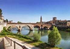 Ponte Pietra is a Roman arch bridge over the Adige river in the Italian city of Verona Royalty Free Stock Photos