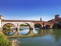 Ponte Pietra is a Roman arch bridge over the Adige river in the Italian city of Verona. Italy Royalty Free Stock Image