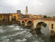 Ponte Pietra, the Roman Arch Bridge over the Adige River in Verona Royalty Free Stock Photos
