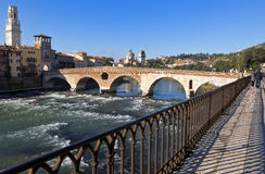 Ponte Pietra (Stone Bridge) in Verona - Italy. Royalty Free Stock Photo