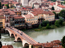 Ponte Pietra in Verona from above. Italy Royalty Free Stock Photography