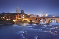Ponte Pietra in Verona - Italien Lizenzfreie Stockfotografie