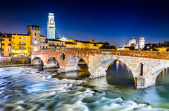 Ponte Pietra in Verona, Italy Stock Photography