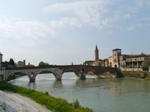 Ponte Pietre a bridge in Verona in Italy Royalty Free Stock Images