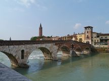 Ponte Pietre a bridge in Verona in Italy Royalty Free Stock Photography
