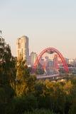 Ponte pittoresco a tempo di tramonto Immagine Stock