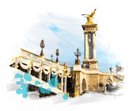 Ponte - Pont Alexandre III Immagini Stock Libere da Diritti