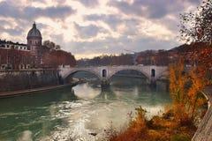 Ponte Principe Amedeo Savoia Aosta, bridge across the Tiber in Rome Stock Photos