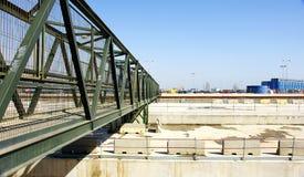 Ponte provvisorio sugli impianti del viale del treno ad alta velocità Fotografia Stock Libera da Diritti