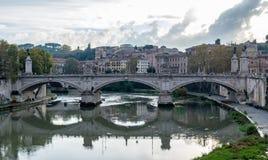 Ponte Przerzuca most Vittorio Emanuele II sławny most w Rzym obraz stock