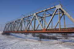 Ponte railway de aço Foto de Stock