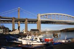 Ponte railway de Brunels com barcos Plymouth, Reino Unido Foto de Stock