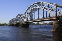 Ponte Railway - Riga - paisagem Fotografia de Stock Royalty Free