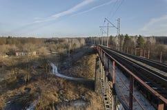 Ponte railway verde Fotografia de Stock Royalty Free