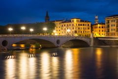 Ponte Risorgimento and Adige, Verona, Italy Royalty Free Stock Photos