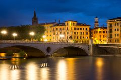 Ponte Risorgimento and Adige, Verona, Italy Stock Photos