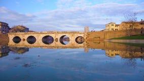 Ponte romano di Rimini stock footage