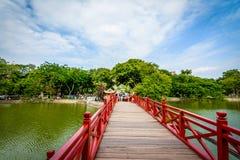 Ponte rosso famoso a Hanoi Fotografia Stock Libera da Diritti