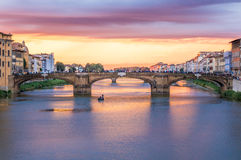 Ponte S. Trinita in Florence, Italy. Sunset view of Ponte S. Trinita from Ponte Vecchio in Florence Italy Royalty Free Stock Photography