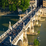 Ponte Sant`Angelo (Bridge of Angels) at sunset, Rome Stock Image
