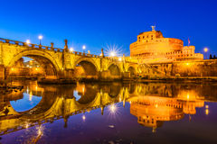 Ponte Sant`Angelo bridge crossing the river Tiber Royalty Free Stock Photography