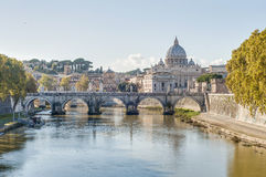Ponte Sant'Angelo (Bridge of Hadrian) in Rome, Italy,. Ponte Sant'Angelo, once the Aelian Bridge or Pons Aelius (Bridge of Hadrian) in Rome, Italy Stock Photos