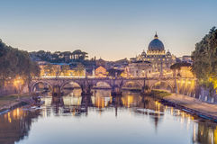 Ponte Sant'Angelo (Bridge of Hadrian) in Rome, Italy, Stock Images