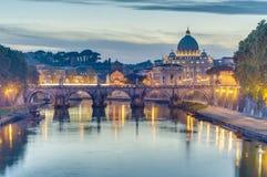 Ponte Sant'Angelo (Bridge of Hadrian) in Rome, Italy, Royalty Free Stock Photography