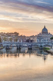 Ponte Sant'Angelo (Bridge of Hadrian) in Rome, Italy, Stock Photography