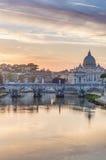 Ponte Sant'Angelo (Bridge of Hadrian) in Rome, Italy, Stock Photography
