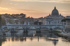 Ponte Sant'Angelo (Bridge of Hadrian) in Rome, Italy, Stock Photo