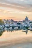 Ponte Sant'Angelo (Bridge of Hadrian) in Rome, Italy, Royalty Free Stock Photos