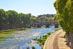 Ponte Sant Angelo Bridge over Tiber River. The bridge is also called as the Bridge of Hadrian, or the Aelian Bridge; or Pons Aelius Stock Photo