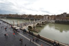 Ponte Sant`Angelo, bridge, river, water, waterway. Ponte Sant'Angelo is bridge, waterway and city. That marvel has river, sky and fixed link and that beauty stock image