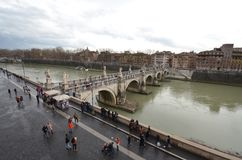 Ponte Sant`Angelo, bridge, river, water, waterway. Ponte Sant'Angelo is bridge, waterway and arch bridge. That marvel has river, city and fixed link and that royalty free stock image